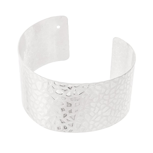 "Textured Cuff Bracelet in Worn Silver.  - Approximately 2.25"" in diameter - Fits up to a 5"" wrist"
