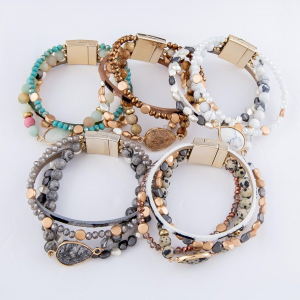 """Semi Precious Beaded Magnetic Bracelet featuring Natural Stone & Animal Print Details.  - Magnetic Closure - Approximately 3"""" in diameter - Fits up to a 6"""" wrist"""