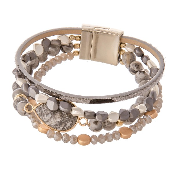 "Semi Precious Beaded Magnetic Bracelet featuring Natural Stone & Animal Print Details.  - Magnetic Closure - Approximately 3"" in diameter - Fits up to a 6"" wrist"