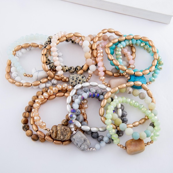 "Natural Stone Beaded Stretch Bracelet Set.  - 3pcs/set - Approximately 3"" in diameter - Fits up to a 7"" wrist"