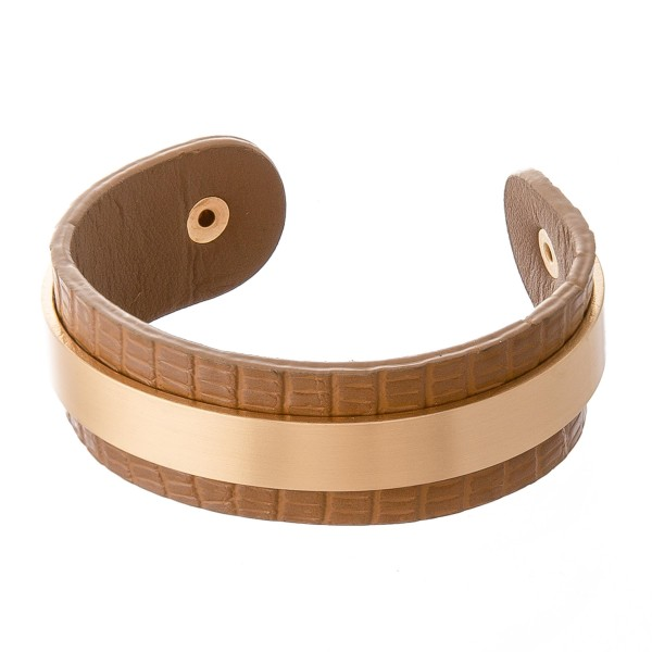 "Faux Leather Gator Print Cuff Bracelet Featuring a Gold Metal Cuff Overlay Detail.  - Approximately 2.5"" in Diameter - Fits up to a 5"" wrist"