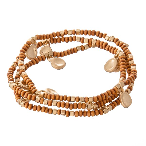 "Wood Beaded Stretch Bracelet Set Featuring Gold Accents.  - 3 pcs per set - Approximately 3"" in diameter - Fits up to a 7"" wrist"