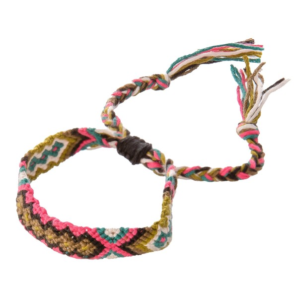 "Handmade Thread Woven Ethnic Bolo Bracelet.  - Adjustable Bolo Closure - Approximately 3"" in Diameter - Fits up to an 8"" wrist"