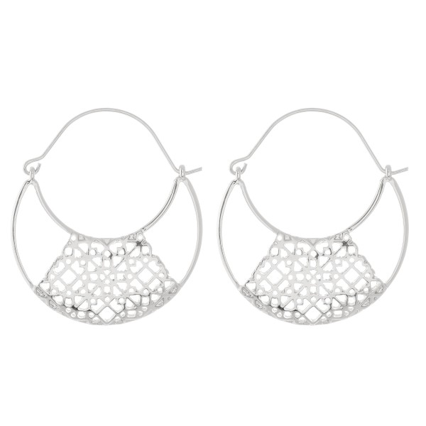 "Brass Filigree Bohemian Hoop Earrings.  - Approximately 2"" in diameter"