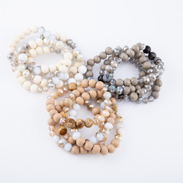 "Wood Beaded Stackable Stretch Bracelet Set Featuring Semi Precious Bead Details.  - 4pcs/set - Approximately 3"" in diameter - Fits up to a 7"" wrist"