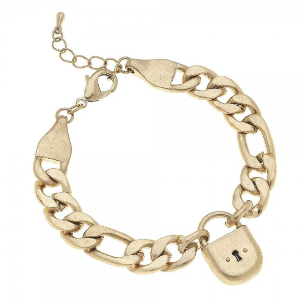 "Curb Chain Link Lock Bracelet in Gold.  - Lock .75""  - Approximately 3"" in diameter - Fits up to a 7"" wrist  - 1"" Adjustable Extender"