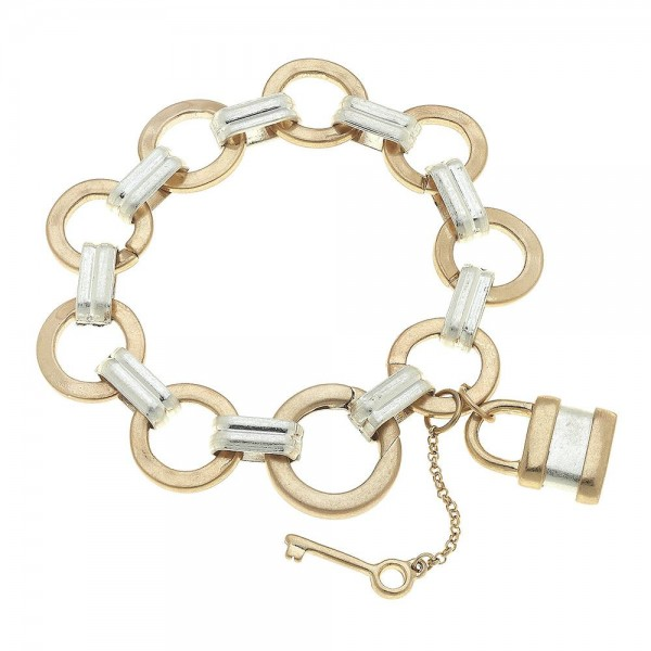 "Two Tone Circle Link Lock & Key Charm Bracelet.  - Lock Charm approx. .75"" - Approximately 3"" in diameter - Fits up to a 6"" wrist"
