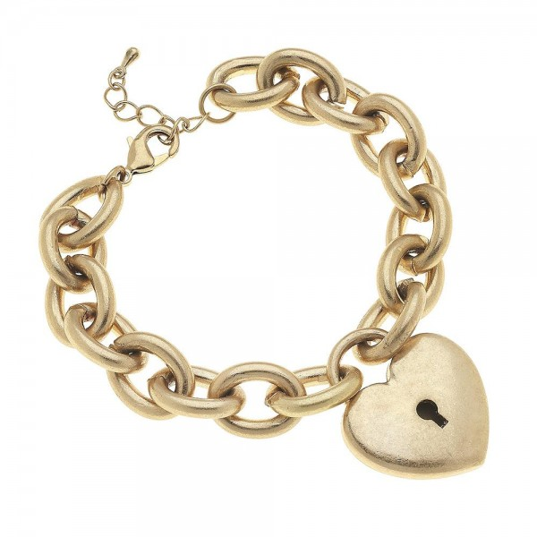 "Chunky Chain Link Heart Lock Charm Bracelet in Gold.  - Heart Charm 1""  - Approximately 3"" in diameter - Fits up to a 7"" wrist - 1"" Adjustable Extender"