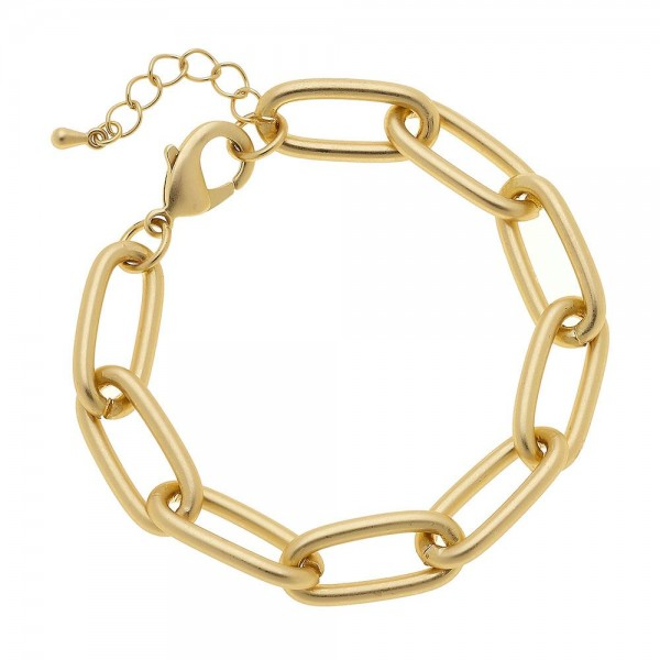 "Oval Chain Link Bracelet in a Matte Gold Finish.  - Approximately 2.5"" in diameter - Fits up to a 6"" wrist - 1"" Adjustable Extender"