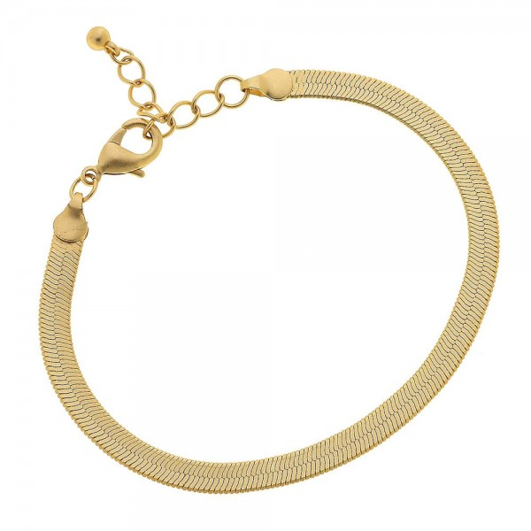 "5mm Herringbone Chain Bracelet in a Gold.  - Approximately 2.5"" in diameter - Fits up to a 6"" wrist - 1"" Adjustable Extender"
