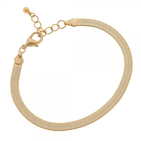 "5mm Herringbone Chain Bracelet in a Matte Gold Finish.  - Approximately 2.5"" in diameter - Fits up to a 6"" wrist - 1"" Adjustable Extender"