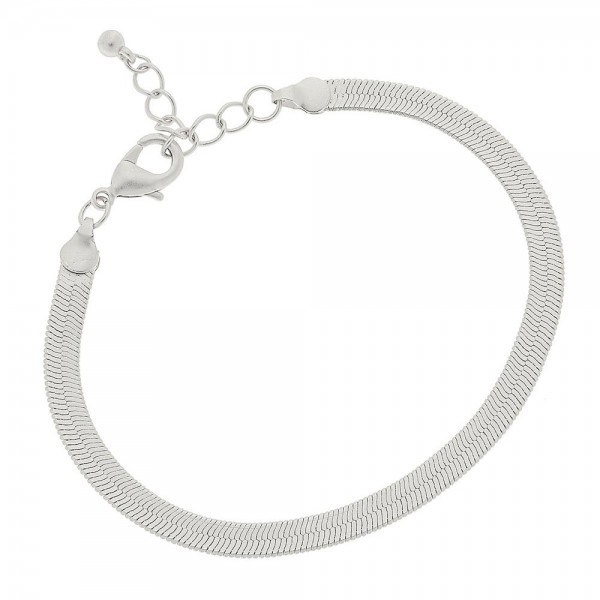 "5mm Herringbone Chain Bracelet in a Matte Silver Finish.  - Approximately 2.5"" in diameter - Fits up to a 6"" wrist - 1"" Adjustable Extender"