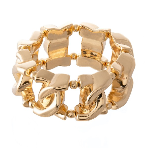 """Chunky Chain Link Statement Stretch Bracelet in Gold.  - Approximately 3"""" in diameter - Fits up to a 7"""" wrist"""