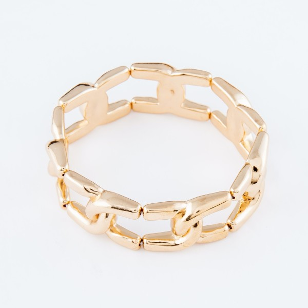 "Enlarged Curb Chain Link Stretch Bracelet in Gold.  - Approximately 3"" in diameter - Fits up to a 7"" wrist"