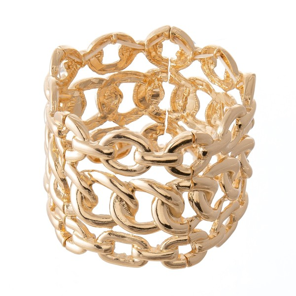 """Chain Link Statement Stretch Bracelet in Gold.  - Approximately 3"""" in diameter  - 1.75"""" in width - Fits up to a  7"""" wrist"""