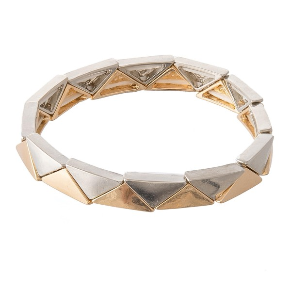 """Two Tone Triangle Block Stretch Bracelet.  - Approximately 3"""" in diameter - Fits up to a 7"""" wrist"""