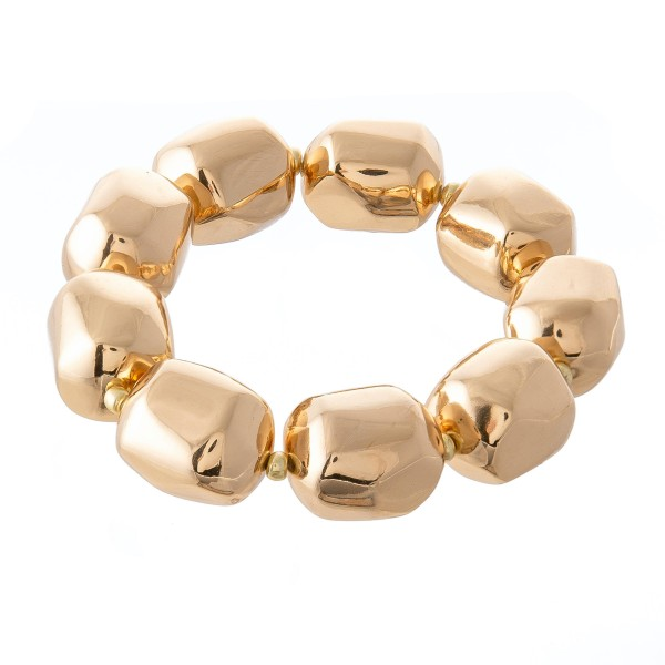 """Chunky Beaded Statement Stretch Bracelet in Gold.  - 18mm  - Approximately 3"""" in diameter - Fits up to a 7"""" wrist"""