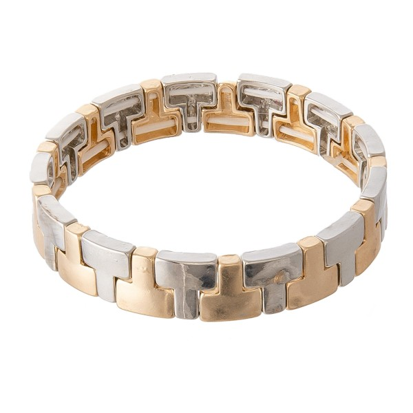 """Two Tone T-Block Stretch Bracelet.  - Approximately 3"""" in diameter - Fits up to a 7"""" wrist"""