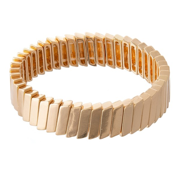 """Tile Block Stretch Bracelet in Gold.  - Approximately 3"""" in diameter - Fits up to a 7"""" wrist"""
