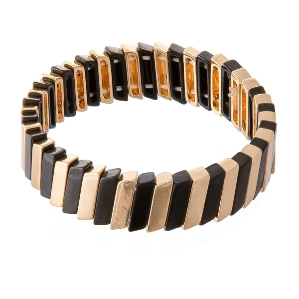 Wholesale two Tile Block Stretch Bracelet diameter Fits up wrist