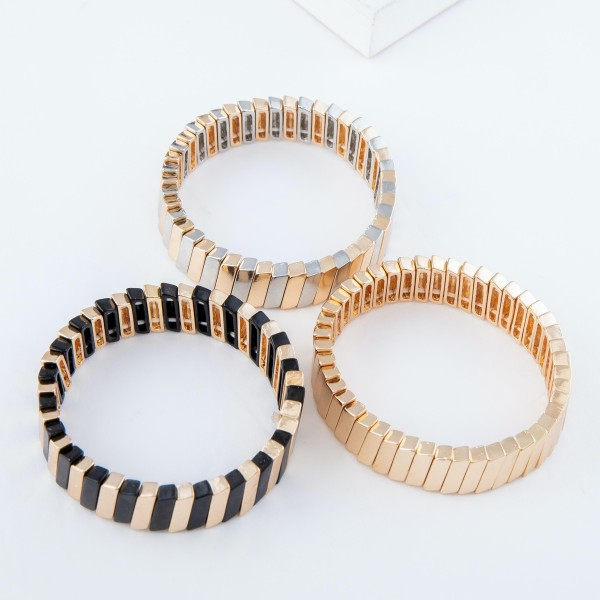"""Two Tone Tile Block Stretch Bracelet.  - Approximately 3"""" in diameter - Fits up to a 7"""" wrist"""