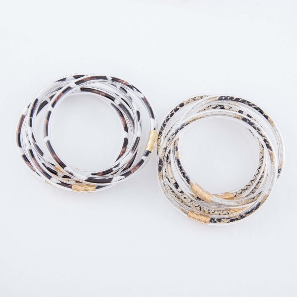 "Leopard Print Jelly Bangle Bracelet Set.  - 5 pcs per set - Approximately 3"" in diameter - Fits up to a 6"" wrist"