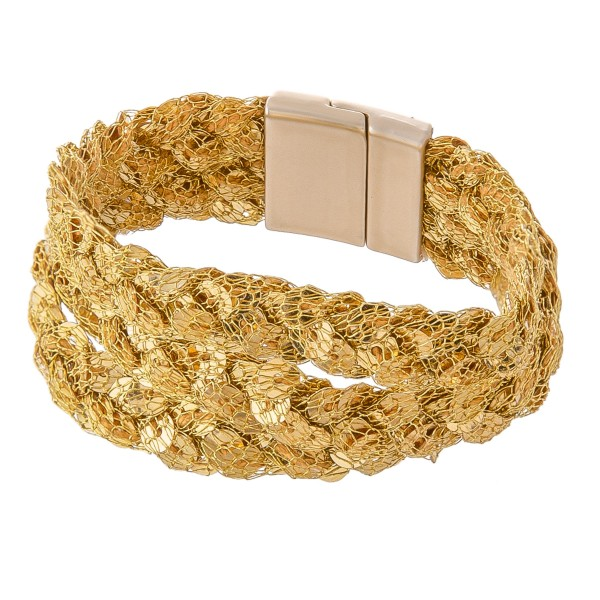 "Sequin Mesh Braided Magnetic Bracelet.  - Magnetic Closure - Approximately 3"" in diameter - Fits up to a 7"" wrist"