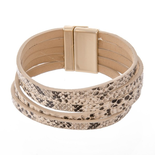 "Multi Strand Faux Leather Snakeskin Magnetic Bracelet.  - Multi-Strand - Magnetic Closure - Approximately 3"" in diameter - Fits up to a 6"" wrist"