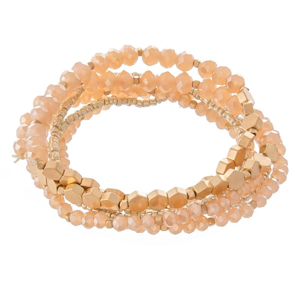 "Simple Faceted Beaded Honeycomb Stretch Bracelet Set.  - 6 pcs per set - Approximately 3"" in diameter - Fits up to a 7"" wrist"