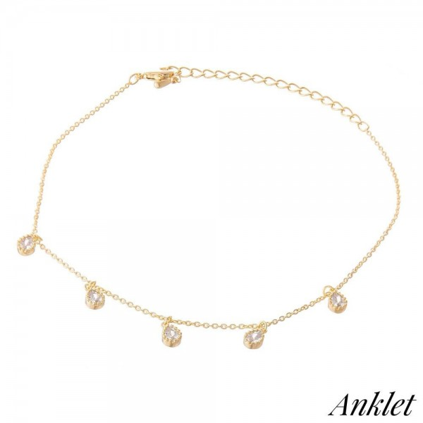 """Dainty Chain Anklet Featuring Crystal Clear Teardrop Accents.  - Approximately 4"""" in diameter - Adjustable 2"""" Extender  - Fits up to an 8"""" ankle"""