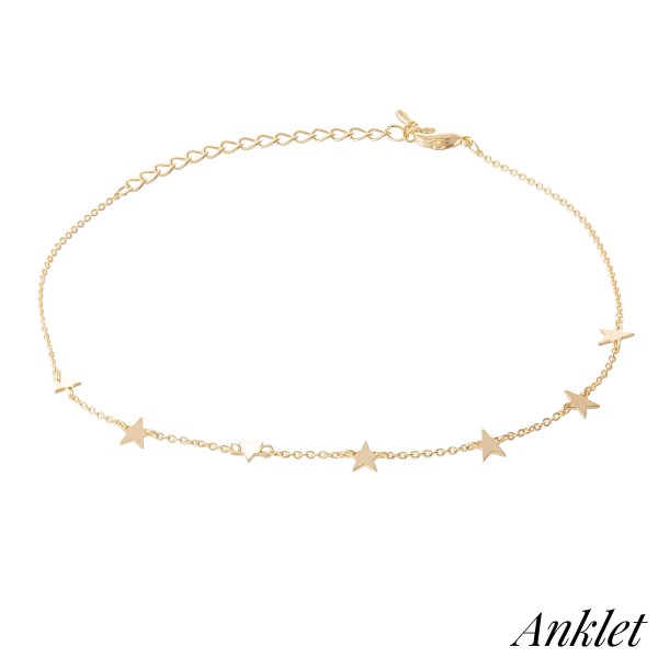 Wholesale dainty Star Chain Linked Anklet diameter Adjustable Extender Fits up a
