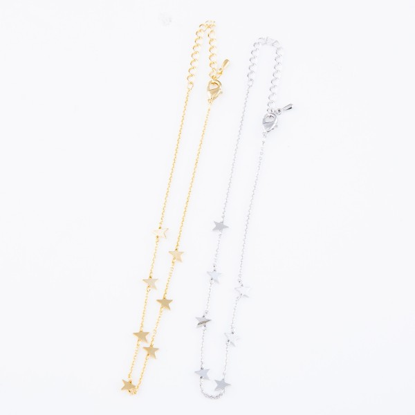 "Dainty Star Chain Linked Anklet.  - Approximately 4"" in diameter - Adjustable 2"" Extender - Fits up to an 8"" ankle"
