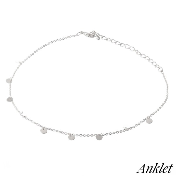 "Dainty Chain Dangle Disc Anklet.  - Approximately 4"" in diameter - Adjustable 2"" Extender - Fits up to an 8"" ankle"