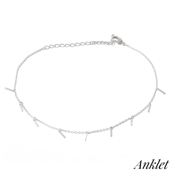 "Dainty Chain Dangle Bar Anklet.  - Approximately 4"" in diameter - Adjustable 2"" Extender - Fits up to an 8"" ankle"