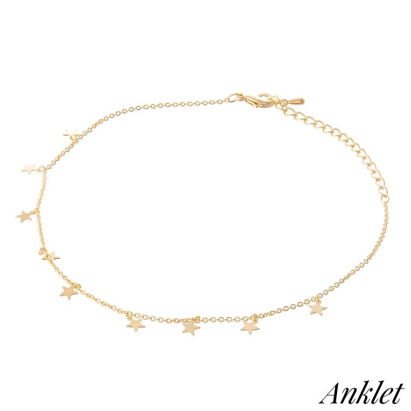 "Dainty Chain Dangle Star Anklet.  - Approximately 4"" in diameter - Adjustable 2"" Extender - Fits up to an 8"" ankle"