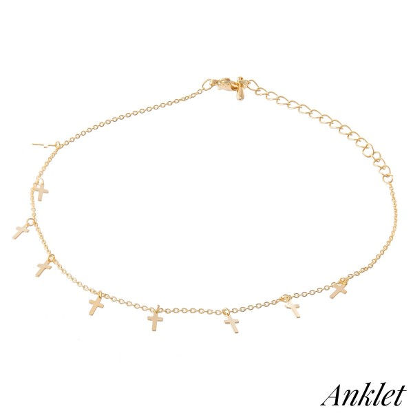 """Dainty Chain Dangle Cross Anklet.  - Approximately 4"""" in diameter - Adjustable 2"""" Extender - Fits up to an 8"""" ankle"""
