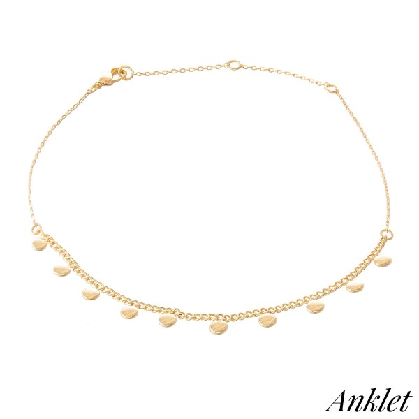 "Dainty Curb Chain Anklet Featuring Dangle Dot Accents.  - Approximately 4"" in diameter - Adjustable 2"" Extender - Fits up to an 8"" ankle"