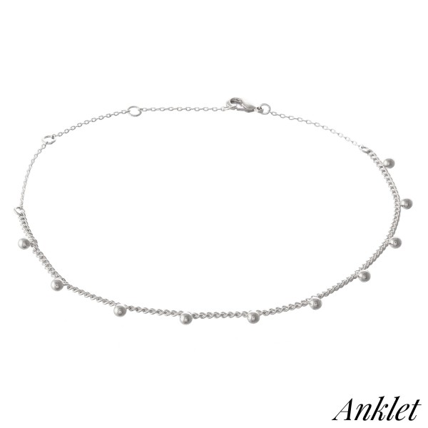 "Dainty Curb Chain Anklet Featuring Ball Bead Accents.  - Approximately 4"" in diameter - Adjustable 2"" Extender - Fits up to an 8"" ankle"