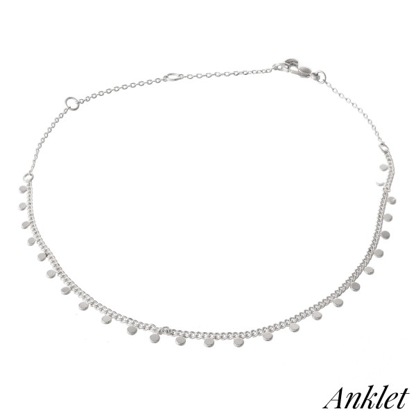 """Dainty Curb Chain Anklet Featuring Dangle Dot Accents.  - Approximately 4"""" in diameter - Adjustable 2"""" Extender - Fits up to an 8"""" ankle"""