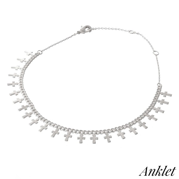 "Dainty Curb Chain Anklet Featuring Cross Dangle Accents.  - Approximately 4"" in diameter - Adjustable 2"" Extender - Fits up to an 8"" ankle"