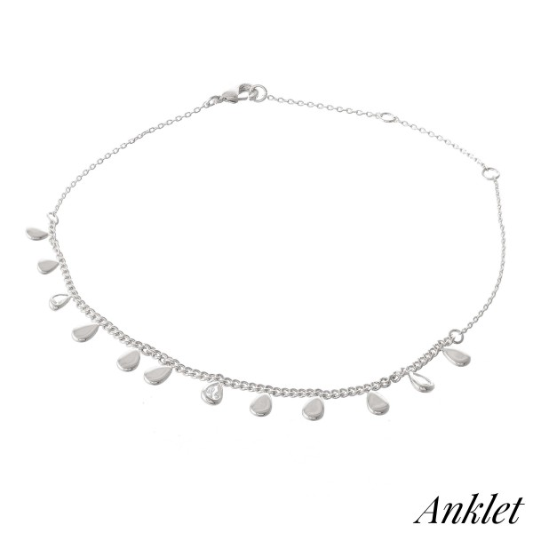 "Dainty Curb Chain Anklet Featuring Teardrop Dangle Accents with Cubic Zirconia Details.  - Approximately 4"" in diameter - Adjustable 2"" Extender - Fits up to an 8"" ankle"