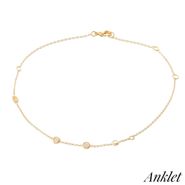 """Dainty Chain Anklet Featuring Crystal Clear Cubic Zirconia Accents.  - Approximately 4"""" in diameter - Adjustable 2"""" Extender - Fits up to an 8"""" ankle"""
