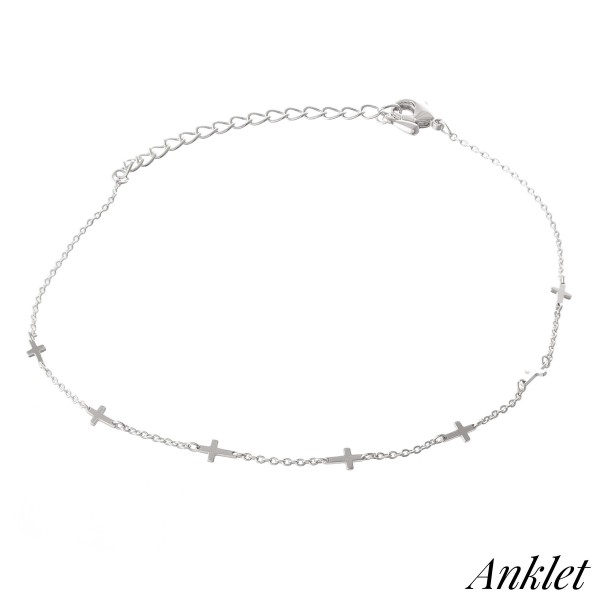"""Dainty Cross Chain Linked Anklet.  - Approximately 4"""" in diameter - Adjustable 2"""" Extender - Fits up to an 8"""" ankle"""