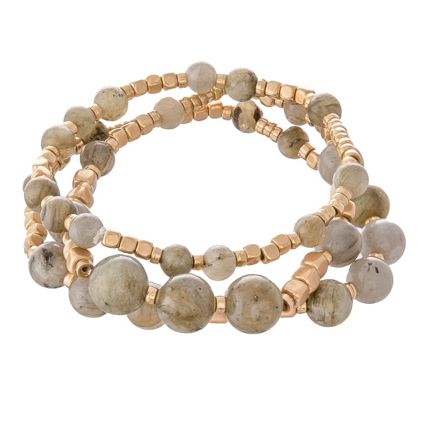 "Semi Precious Beaded Stretch Bracelet Set in Gold.  - 3pcs per set - Approximately 3"" in diameter - Fits up a 7"" wrist"