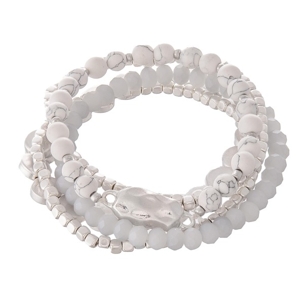 "Semi Precious Beaded Nugget Stretch Bracelet Set.  - 5pcs per set - Approximately 3"" in diameter - Fits up to a 7"" wrist"