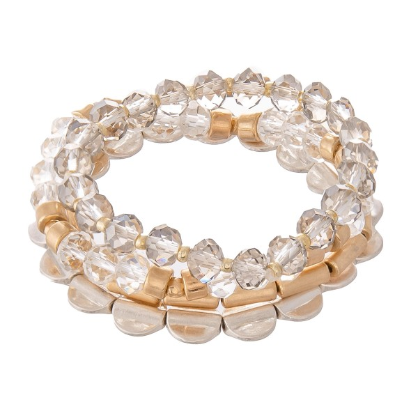 """Beaded Stretch Bracelet Set Featuring Faceted & Metal Beads.  - 4pcs per set - Approximately 3"""" in diameter - Fits up to a 7"""" wrist"""