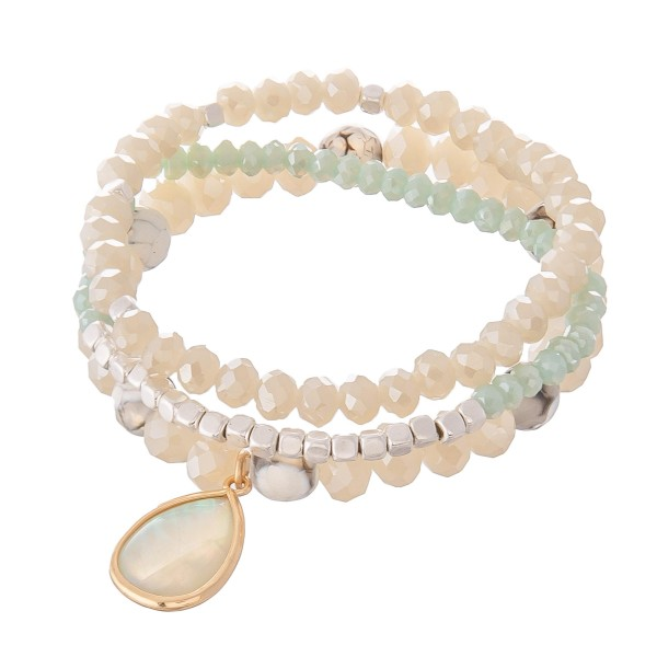 "Semi Precious Beaded Stretch Bracelet Set Featuring Abalone Teardrop Charm.  - 3pcs per set - Approximately 3"" in diameter - Fits up to a 7"" wrist"