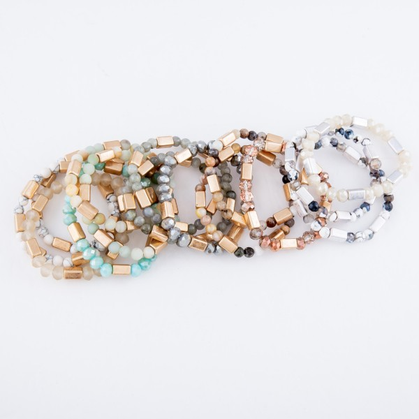 """Semi Precious Beaded Stretch Bracelet Set in Gold.  - 3pcs per set - Approximately 3"""" in diameter - Fits up to a 7"""" wrist"""