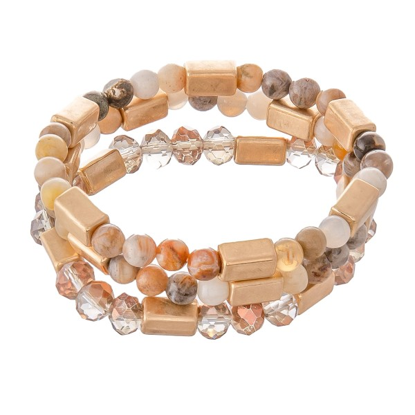 "Semi Precious Beaded Stretch Bracelet Set in Gold.  - 3pcs per set - Approximately 3"" in diameter - Fits up to a 7"" wrist"