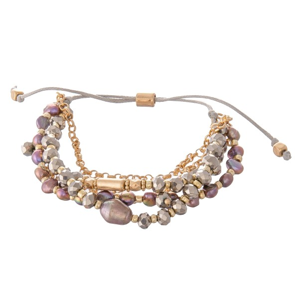 """Multi Strand Beaded Chain Bolo Bracelet Featuring Pearl Details.  - Approximately 3"""" in diameter - Fits up to an 8"""" wrist"""